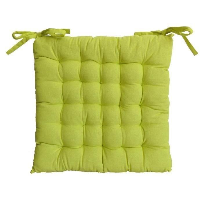 Aucune galette de chaise 40x40x4 cm vert anis 238787 for Housse de coussin vert anis