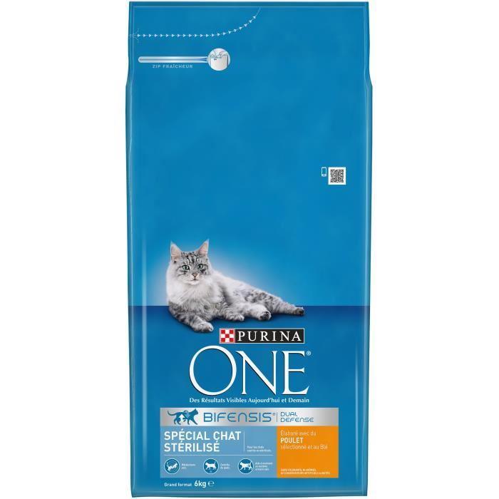 One croquettes au poulet et ble pour chat sterilise 6kg x1 pour chat 302307 - Herbe a chat seche ...