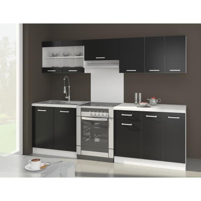 Aucune alceo cuisine complete 2m40 noir mat sans for Cuisine equipee sans electromenager