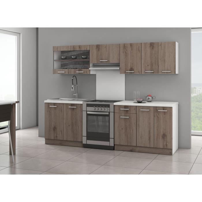 broceliande cuisine complete 240 cm chene fonce sans electromenager 269769. Black Bedroom Furniture Sets. Home Design Ideas