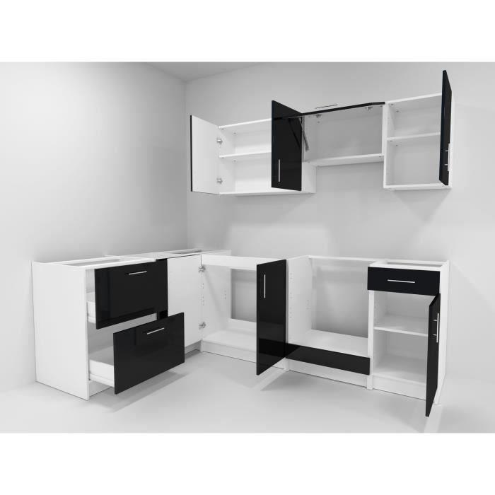 city cuisine d 39 angle complete quip e encastrable 2m80 laqu noir brillant 391806. Black Bedroom Furniture Sets. Home Design Ideas