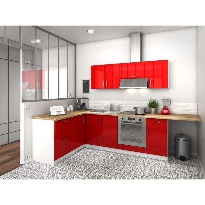 city cuisine d 39 angle complete quip e encastrable 2m80 laqu rouge brillant 391808. Black Bedroom Furniture Sets. Home Design Ideas