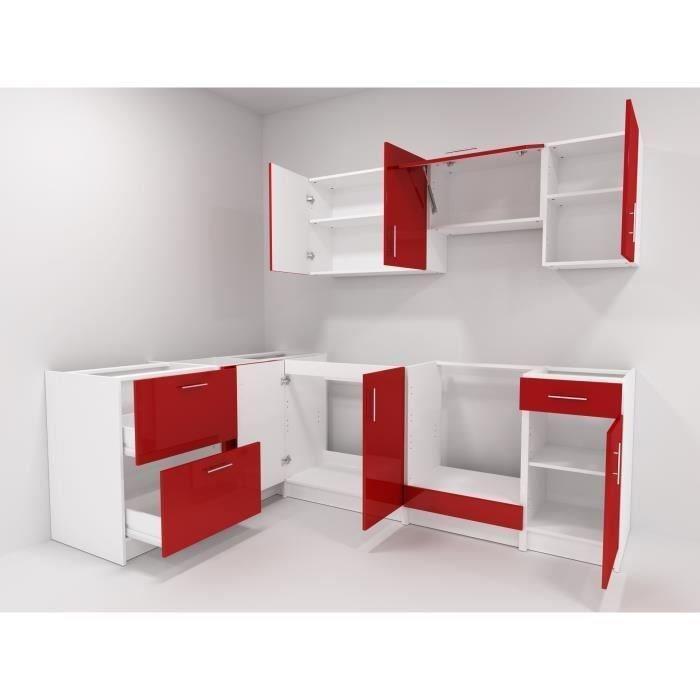 city cuisine d 39 angle complete equip e encastrable 2m80 laqu rouge brillant 391100. Black Bedroom Furniture Sets. Home Design Ideas