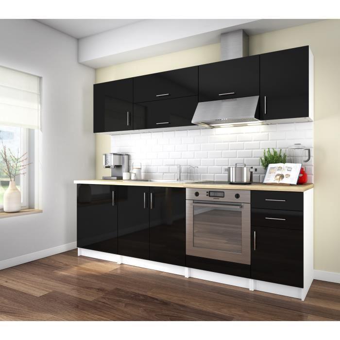 Aucune corry 240 cuisine complete l 2m40 noir laque 439256 - Cuisine noir laque ...