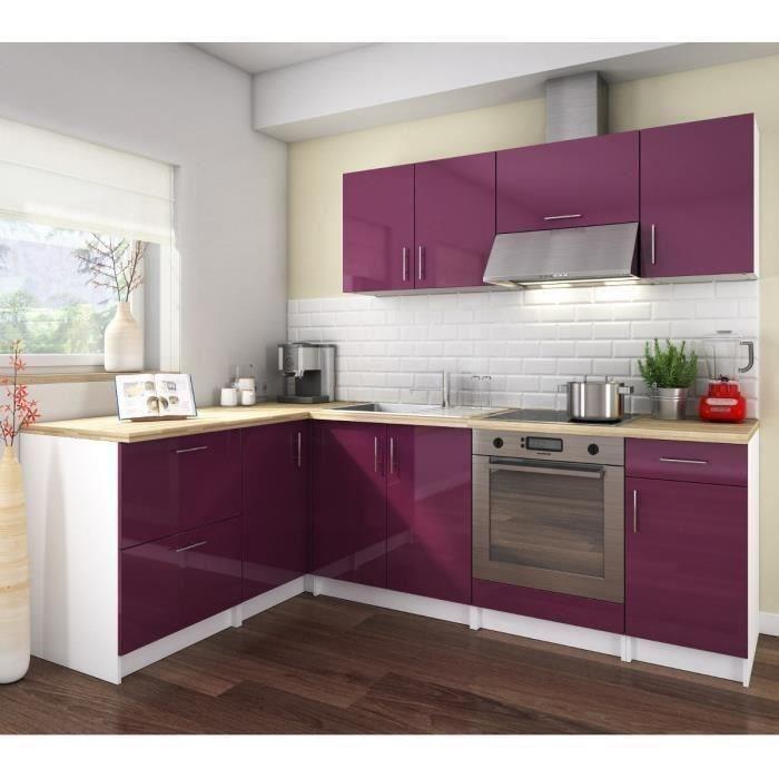 Cosy cuisine complete 280 cm laque aubergine sans for Cuisine complete violet