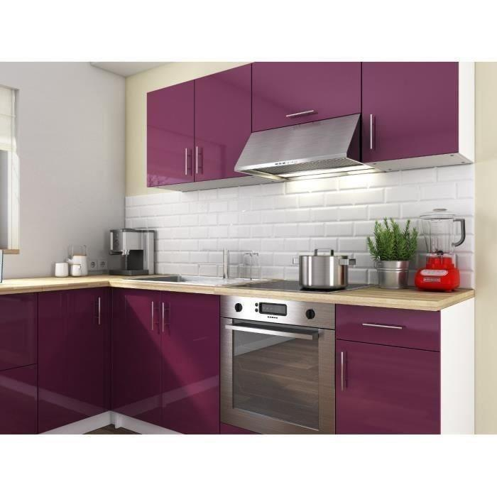 Cosy cuisine complete 280 cm laque aubergine sans electromenager 263891 for Cuisine complete violet