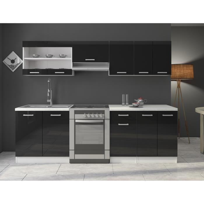 jasny cuisine complete 240 cm laquee noire sans. Black Bedroom Furniture Sets. Home Design Ideas