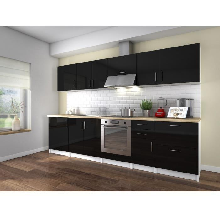 aucune neo cuisine complete 300 cm laque noir sans electromenager 293306. Black Bedroom Furniture Sets. Home Design Ideas