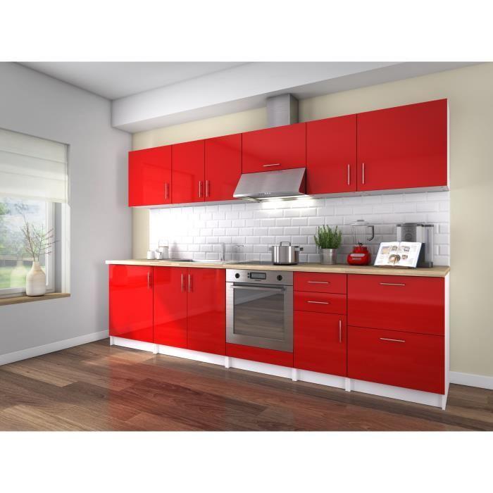 Neo cuisine complete 300 cm laque rouge sans for Cuisine amenagee sans electromenager