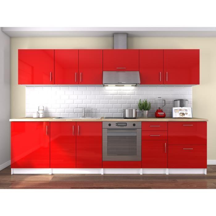 Neo cuisine complete 300 cm laque rouge sans for Cuisine complete electromenager
