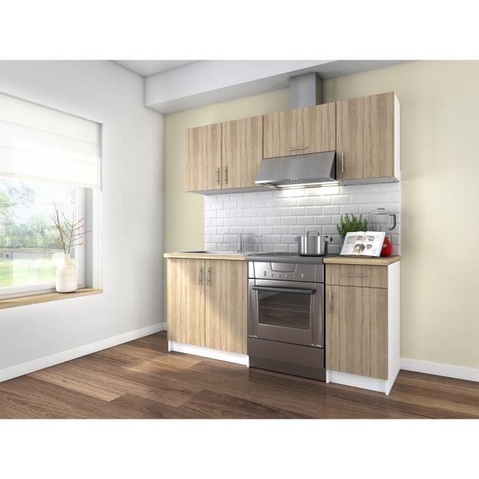 Obi cuisine complete 1m80 decor bois et oak sonoma for Cuisine amenagee sans electromenager