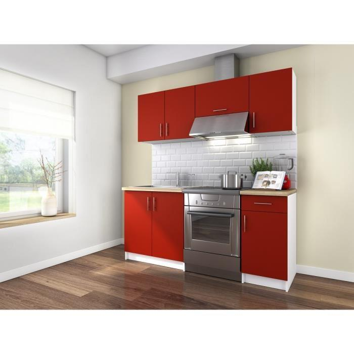 aucune obi cuisine complete 1m80 rouge mat sans electromenager 307224. Black Bedroom Furniture Sets. Home Design Ideas