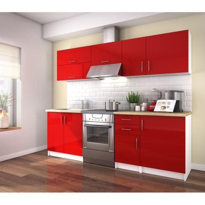 obi cuisine complete 240 cm laque rouge sans electromenager 263903. Black Bedroom Furniture Sets. Home Design Ideas