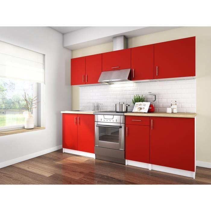 aucune obi cuisine complete 2m40 rouge mat sans electromenager 342957. Black Bedroom Furniture Sets. Home Design Ideas