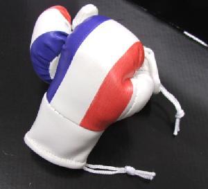 Decorations interieures ADNAutoMID - 2 mini gants de boxe cuir drapeau France