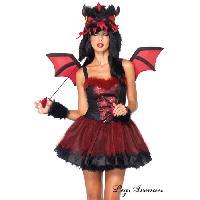 Deguisements sexy femme Leg Avenue - Costume 4 pieces Dragon Demoniaque - Noir/Rouge - ML