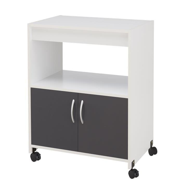 aucune easy desserte de cuisine sur roulettes 60 cm gris et blanc 436479. Black Bedroom Furniture Sets. Home Design Ideas