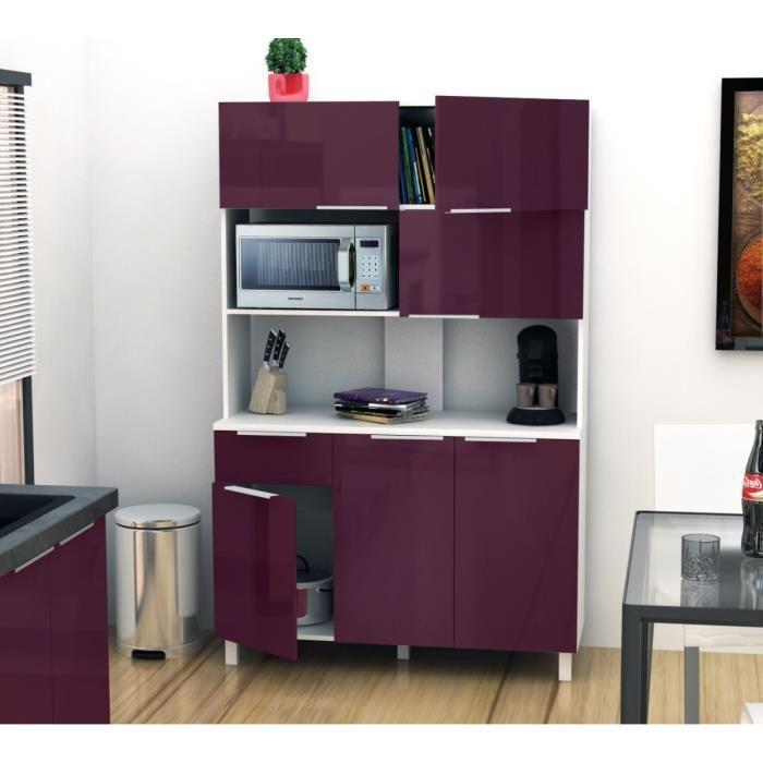 aucune lova buffet cuisine 120 cm aubergine haute brillance 264026. Black Bedroom Furniture Sets. Home Design Ideas