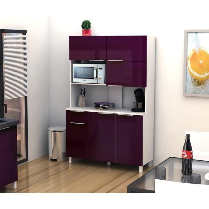 aucune lova buffet cuisine 120 cm aubergine haute brillance 264026. Black Bedroom Furniture Sets. Home Design Ideas