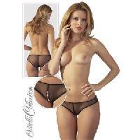 Dessous Cottelli - Culotte String ficelle avec perle stimulante - Noir -Taille M