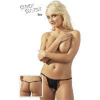 Dessous Mandy Mystery - String noir avec chaine - Taille S/M