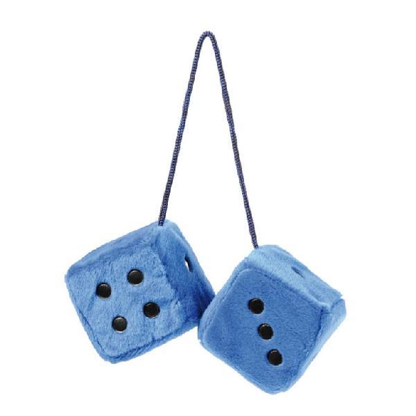 Double des en peluche a suspendre - Bleu - 7x7cm