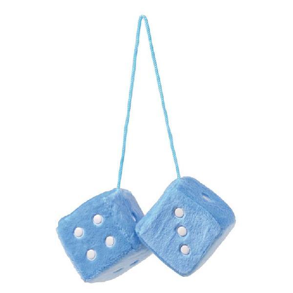 Double des en peluche a suspendre - Bleu ciel - 7x7cm
