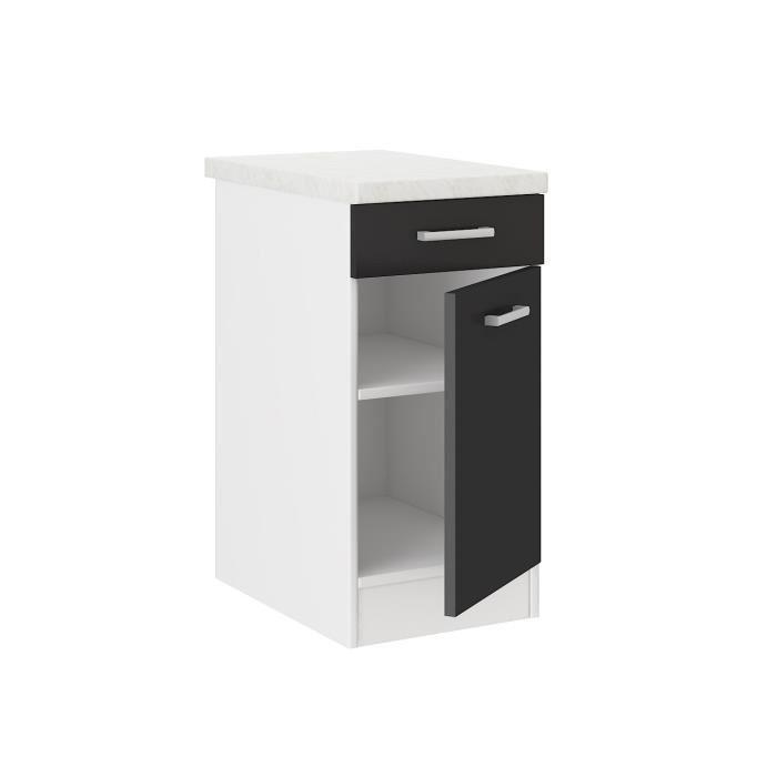 Aucune alceo meuble bas de cuisine 40 cm noir 392651 for Meuble bas cuisine noir
