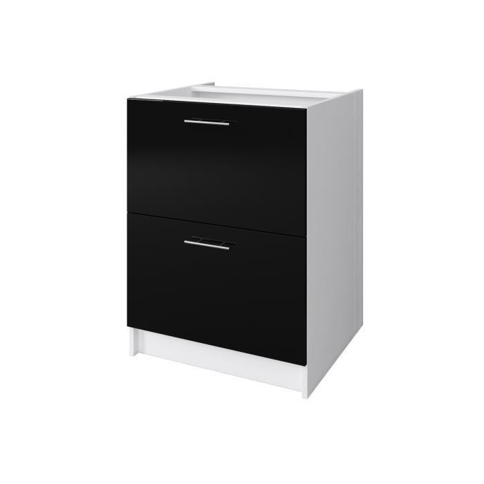 Aucune city meuble bas casserolier 60 cm noir laqu 403132 for City meuble catalogue