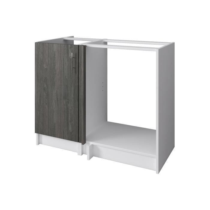 aucune city meuble bas casserolier 60 cm laqu gris brillant 391832. Black Bedroom Furniture Sets. Home Design Ideas