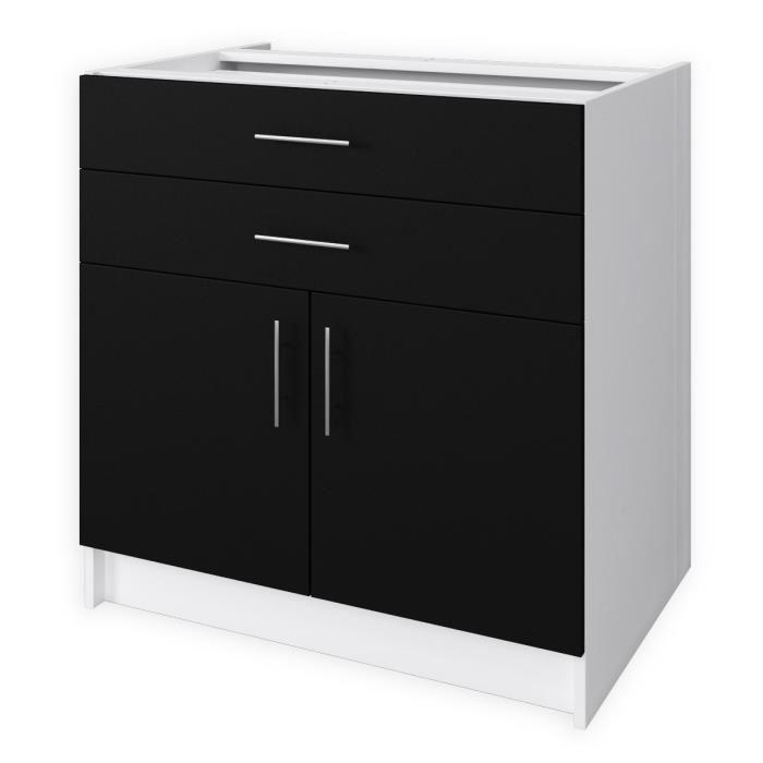 aucune obi meuble bas de cuisine 80 cm noir mat 436225. Black Bedroom Furniture Sets. Home Design Ideas