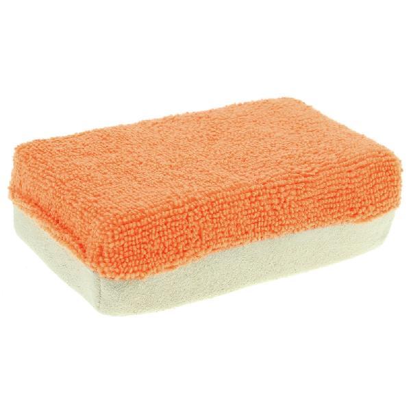Eponge microfibre anti-buee 12x8x4cm Orange/ beige