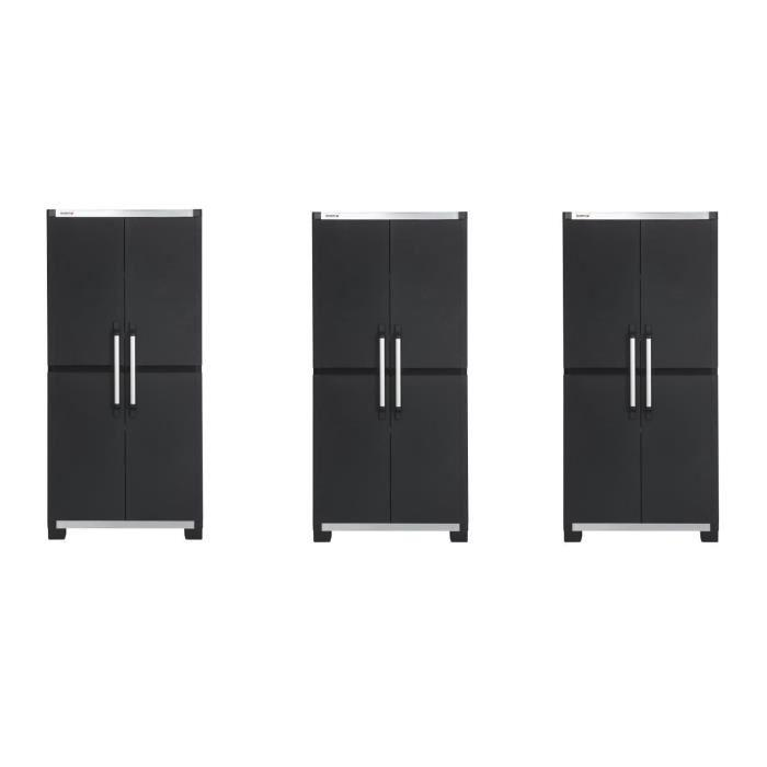 allibert lot de 3 armoires de rangement hautes xl pro 187. Black Bedroom Furniture Sets. Home Design Ideas