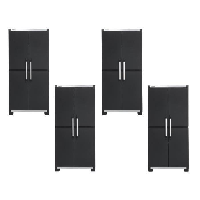 allibert lot de 4 armoires de rangement hautes xl pro 187. Black Bedroom Furniture Sets. Home Design Ideas