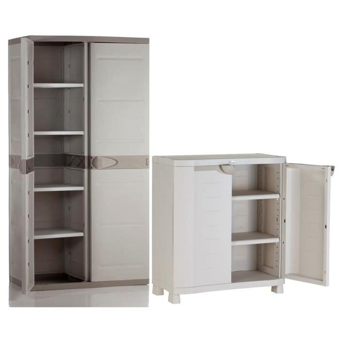 armoire basse de rangement et armoire de rangement haute 4 etageres 268657. Black Bedroom Furniture Sets. Home Design Ideas