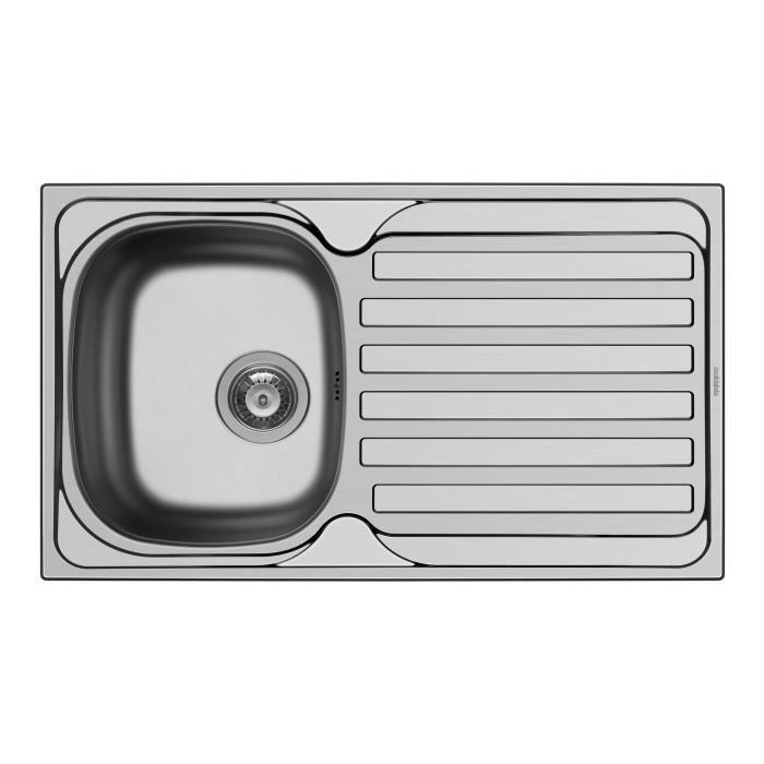 Aucune evier inox 1 bac 1 gouttoir derby anti rayure 276693 for Evier cuisine inox 1 bac