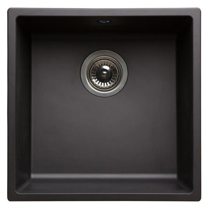evier 1 cuve carree en resine noire 400x400x200mm bonde a panier en inox 242098. Black Bedroom Furniture Sets. Home Design Ideas