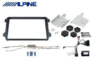 Facade autoradio VW Alpine - KIT-8VW pour INE-W928R Facade autoradio VW CC/EOS/Golf/Jetta/Passat/Polo/Scirocco - Quadlock - Noir