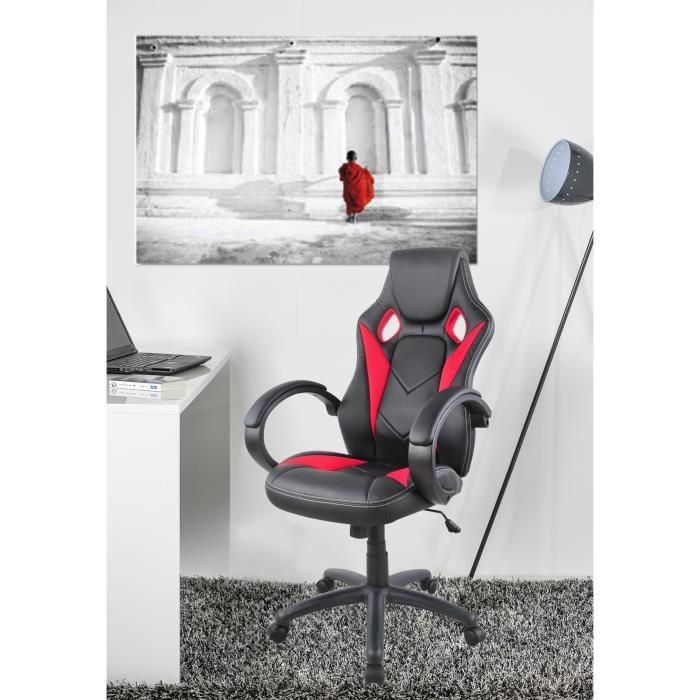 aucune hamilton fauteuil de bureau baquet noir et rouge 382370. Black Bedroom Furniture Sets. Home Design Ideas