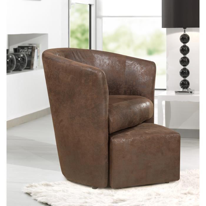 Mid baya fauteuil cabriolet et pouf marron aspect vielli - Fauteuil cabriolet pouf ...
