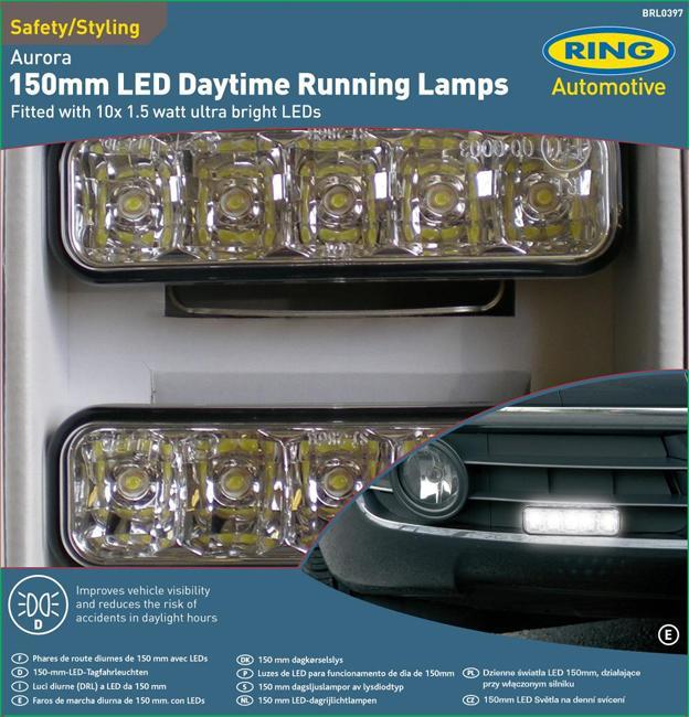 2 feux diurnes adaptables automatiques eclairage de jour type aurora 12v 5 led 64099. Black Bedroom Furniture Sets. Home Design Ideas