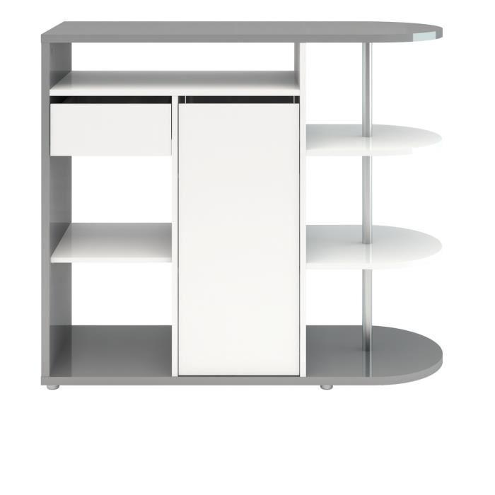 Finlandek bar laiska 125cm gris et blanc brillant 366589 for Salle a manger gris et blanc