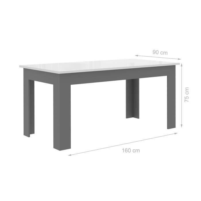 finlandek table a manger pilvi 160x90cm blanc et gris 356307. Black Bedroom Furniture Sets. Home Design Ideas
