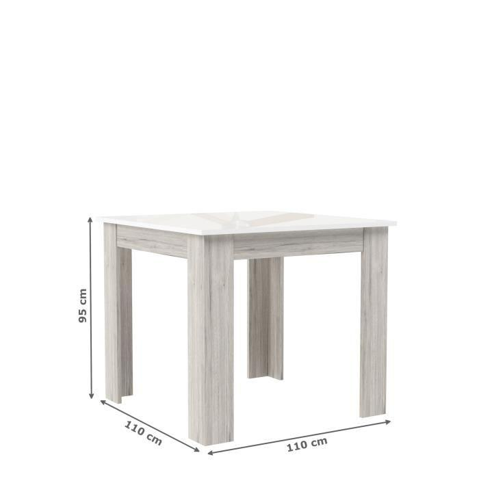 Finlandek table de bar tietti 110x110cm laqu blanc for Table salle manger hauteur 110 cm