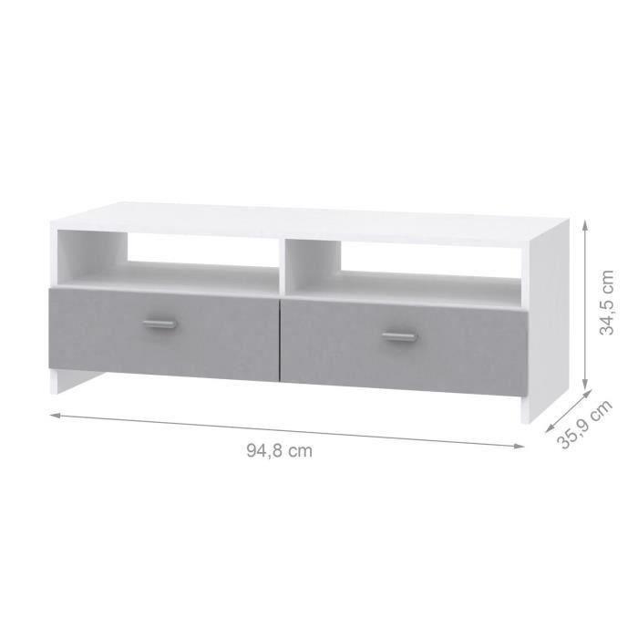 Finlandek salon finlandek meuble tv helppo 95cm blanc for Meuble tv blanc et gris