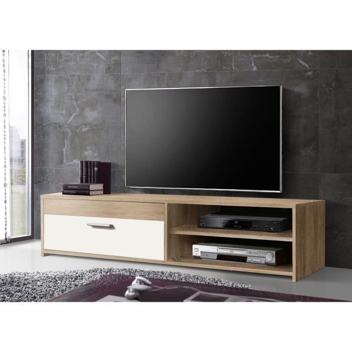 Finlandek meuble tv katso 120cm d cor chene sonoma et for Meuble tv finlandek