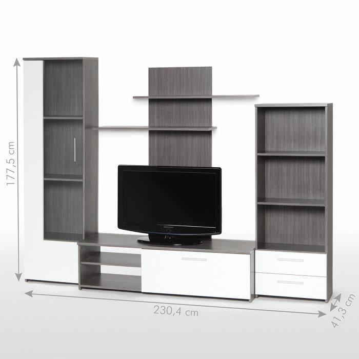 Finlandek meuble tv mural pysy 230 cm d cor chene gris for Meuble salon gris et blanc