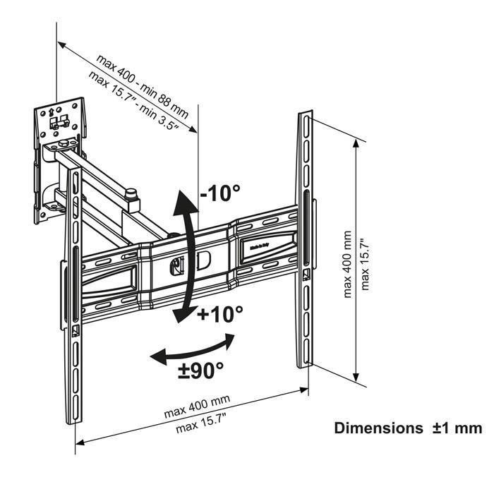 continental edison 400nori12 support tv orientable 242954. Black Bedroom Furniture Sets. Home Design Ideas