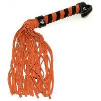 Fouets LRDP - Fouet en cuir orange et noir 38 cm