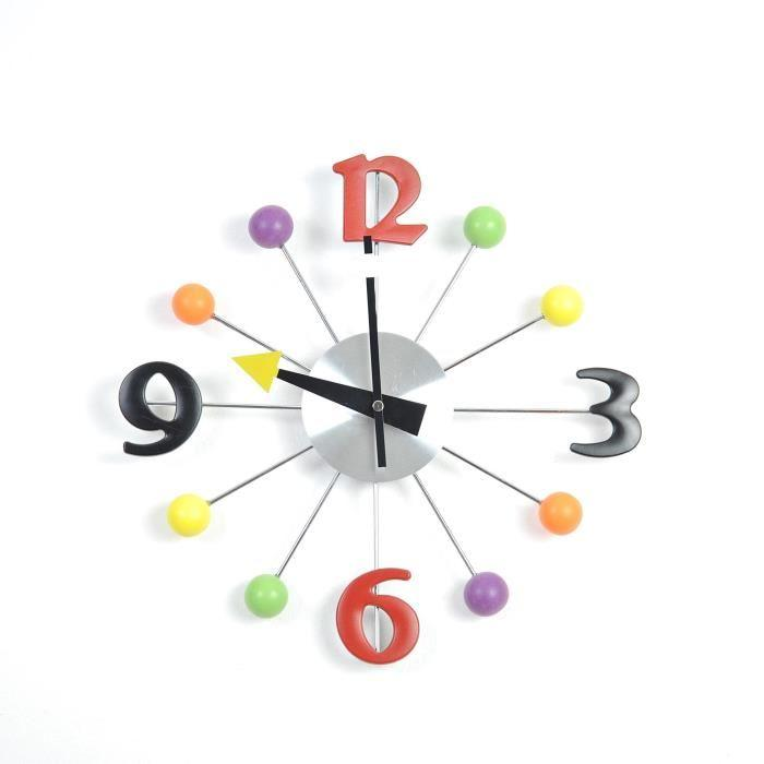 Aucune bulles horloge murale color 33 cm bleu et multicolore 434240 for Horloge murale multicolore